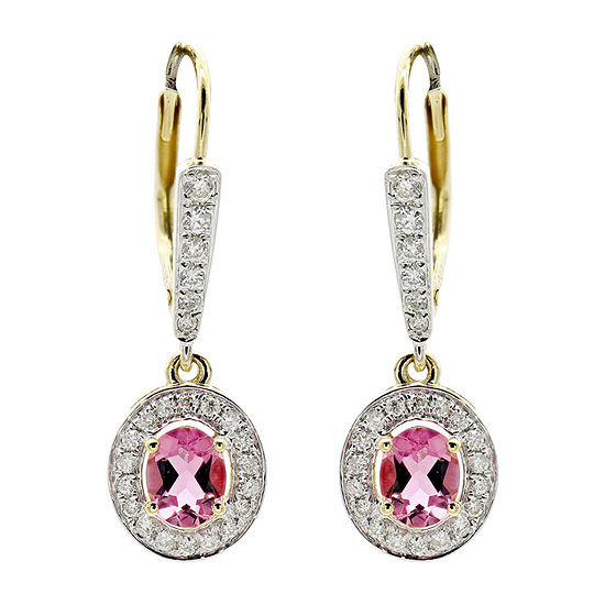 Limited Quantities 1 3 Ct Tw Pink Tourmaline 14k Gold Drop Earrings