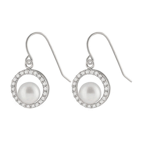 Splendid Pearls Cultured Freshwater Pearl Sterling Silver Round Drop Earrings