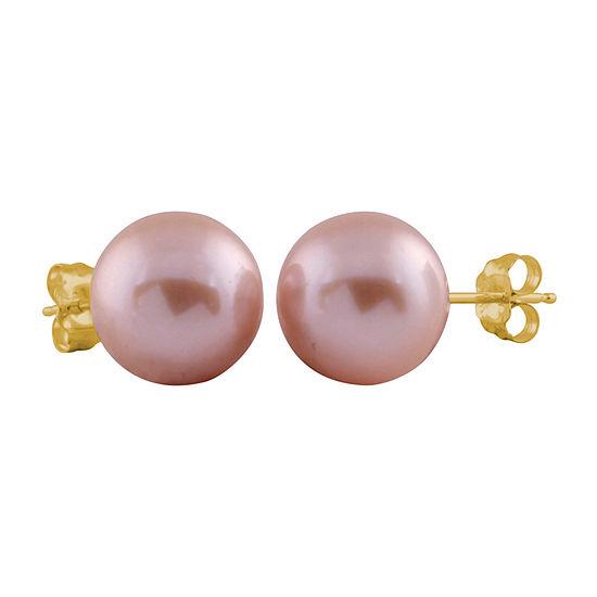 Purple Cultured Freshwater Pearl 14K Gold 9mm Stud Earrings