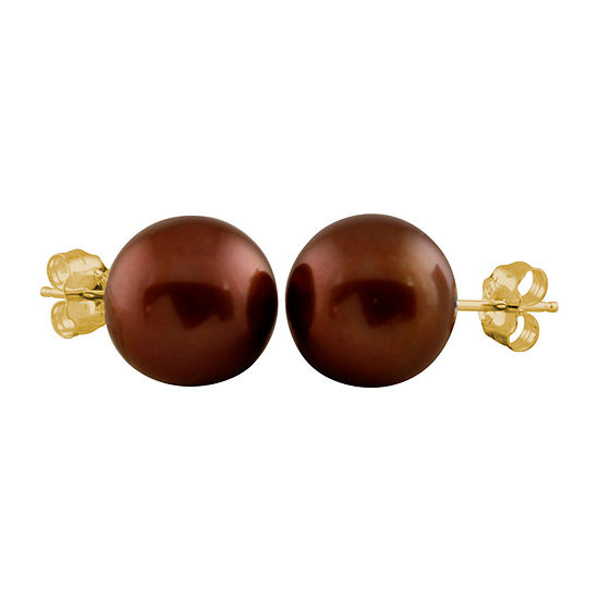 Brown Cultured Freshwater Pearl 14K Gold 9mm Stud Earrings