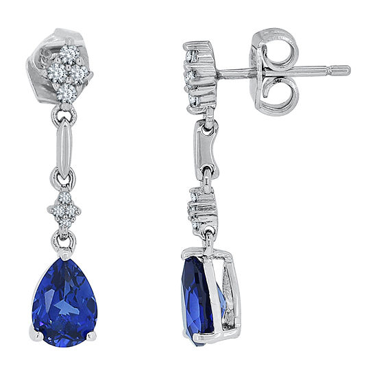 Lab Created Blue Sapphire Sterling Silver Pear Drop Earrings