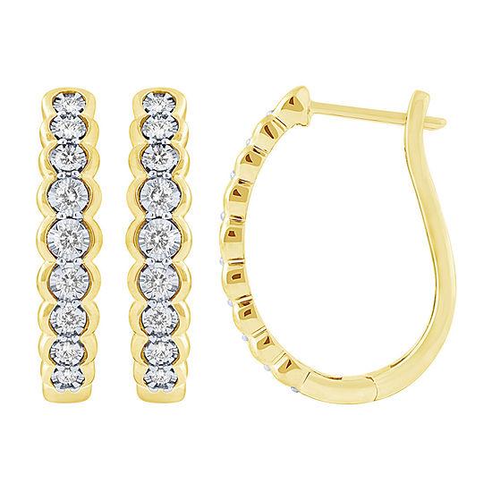 1/2 CT. T.W. Genuine White Diamond 10K Gold 23mm Hoop Earrings