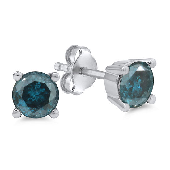 1 1/2 CT. T.W. Genuine Blue Diamond 14K White Gold 5.8mm Round Stud Earrings