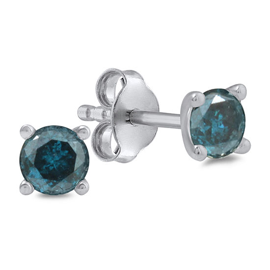 1 CT. T.W. Genuine Blue Diamond 14K White Gold 5.1mm Round Stud Earrings