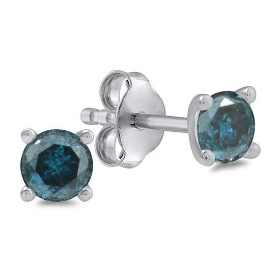 3/4 CT. T.W. Genuine Blue Diamond 14K White Gold 4.5mm Round Stud Earrings