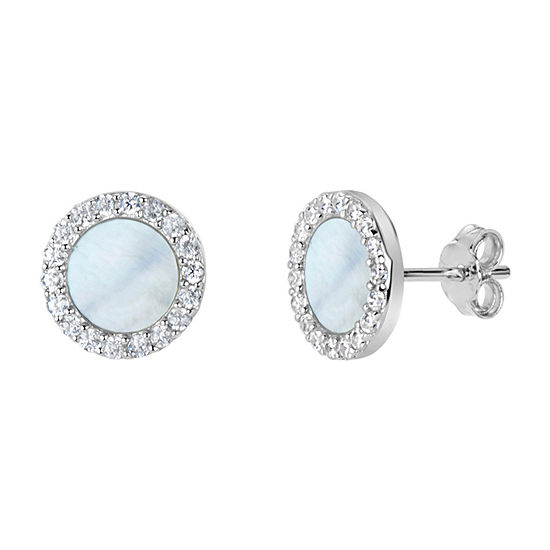 White Mother Of Pearl Sterling Silver 9mm Round Stud Earrings