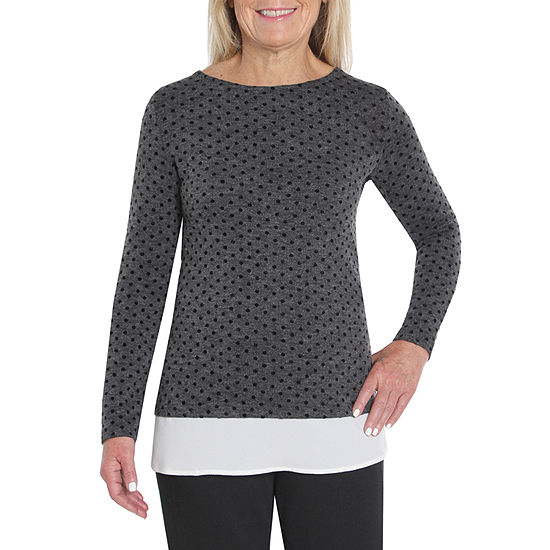 Cathy Daniels Black And White Womens Round Neck Long Sleeve Layered Top