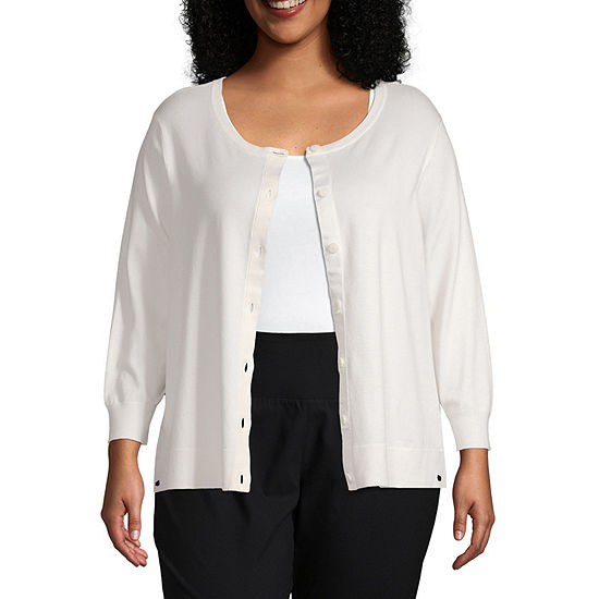 Worthington Womens Long Sleeve Button Front Cardigan - Plus