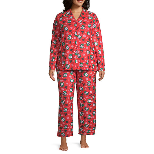 Disney Mickey Mouse Family Women's Plus Coat Front Pajama Set