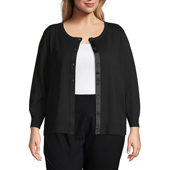 Worthington Womens Long Sleeve Button Front Cardigan - Plus