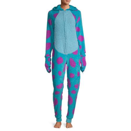 Disney Mjc Sulley Womens Fleece Monsters University Long Sleeve One Piece Pajama, Medium , Blue
