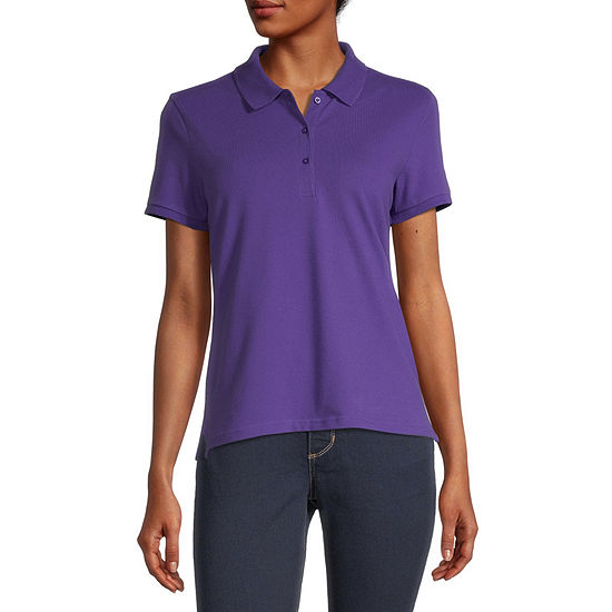 Arizona Juniors Womens Short Sleeve Knit Polo Shirt