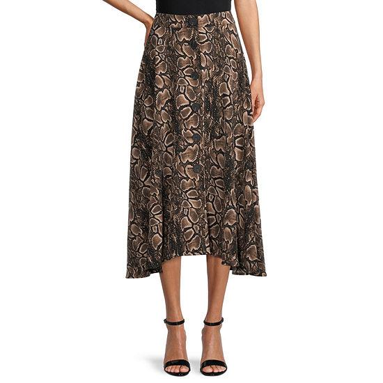 Worthington Womens High Rise Midi A-Line Skirt