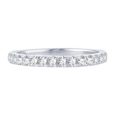1/2 CT. T.W. Genuine White Diamond 10K White Gold Wedding Band