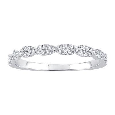 1/5 CT. T.W. Genuine White Diamond 10K White Gold Wedding Band