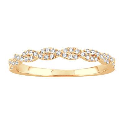 1/5 CT. T.W. Genuine White Diamond 10K Gold Wedding Band