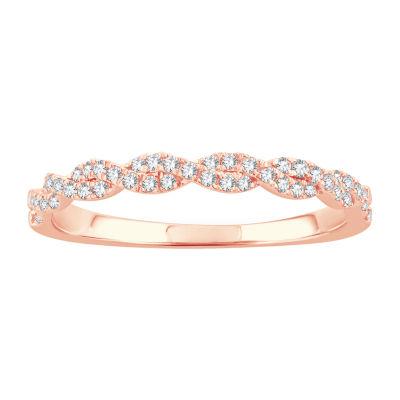 1/5 CT. T.W. Genuine White Diamond 10K Rose Gold Wedding Band