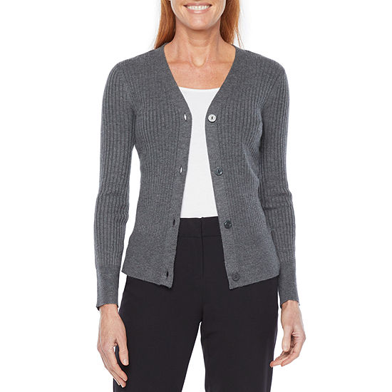 Liz Claiborne Womens Long Sleeve Button Cardigan