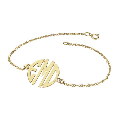 Personalized 14K Gold Over Sterling Silver 20mm Monogram Bracelet