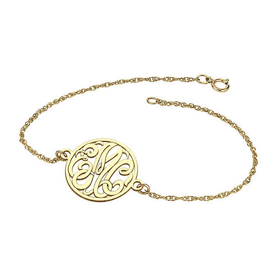 Personalized 10K Gold 20mm Monogram Bracelet