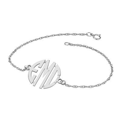 Personalized Sterling Silver 20mm Monogram Bracelet