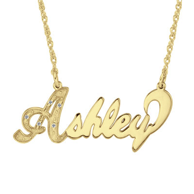 Personalized 14K Gold Over Sterling Silver DiamondAccent Name