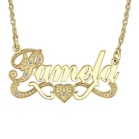 Personalized Diamond-Accent 14K Gold Over Sterling Silver Name Necklace