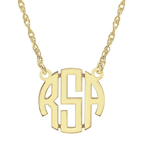 Personalized 14K Gold Over Sterling Silver 15mm Block Monogram Necklace
