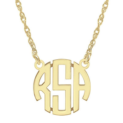 Fine Jewelry Personalized 14K Gold Over Sterling Silver 15mm Monogram Necklace