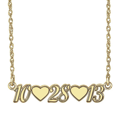 Personalized 14K Gold Over Sterling Silver Date and Heart Necklace