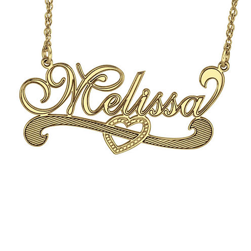Personalized 14K Yellow Gold Over Sterling Silver Name Necklace