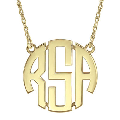 Personalized 14K Gold Over Sterling Silver 25mm Block Monogram Necklace