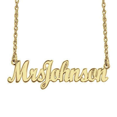 "Personalized 14K Gold Over Sterling Silver ""Mrs"" Name Necklace"