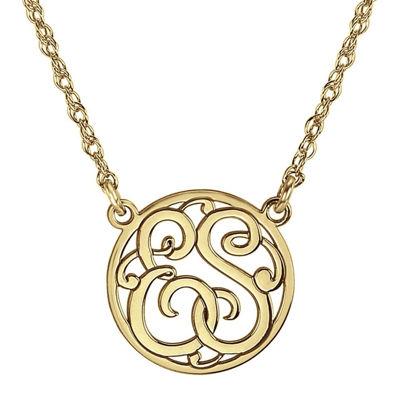 Personalized 15mm Circle Cutout Monogram Necklace