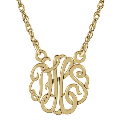 Personalized 14K Gold Over Sterling Silver 15mm Monogram Necklace
