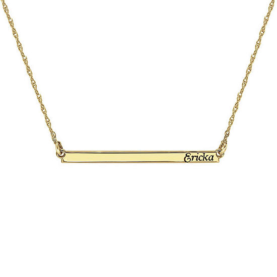 Personalized 14K Gold Over Sterling Silver Name Bar Necklace