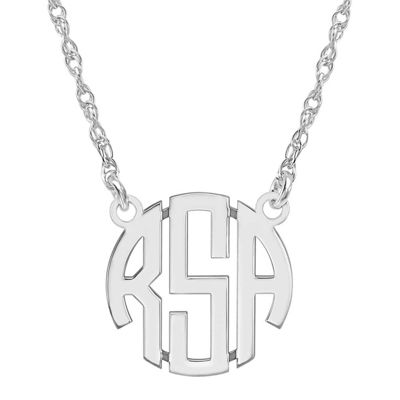 Personalized Sterling Silver 15mm Block Monogram Necklace