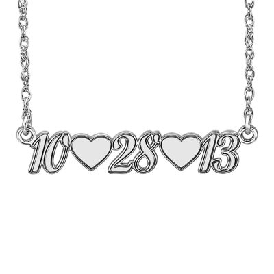 Personalized Sterling Silver Date and Heart Necklace
