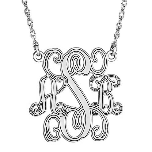 Personalized Sterling Silver 40mm Monogram Necklace