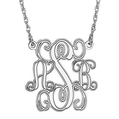 Personalized Personalized Sterling Silver 25mm Monogram Necklace