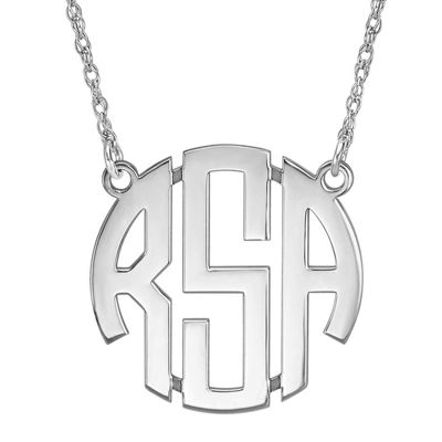 Personalized Sterling Silver 25mm Block Monogram Necklace