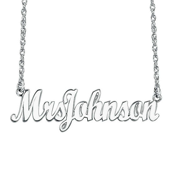 "Personalized Sterling Silver ""Mrs"" Name Necklace"