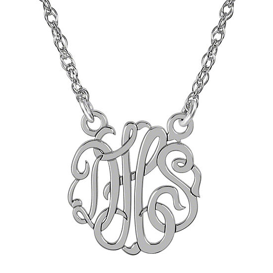 Personalized Sterling Silver 15mm Monogram Necklace