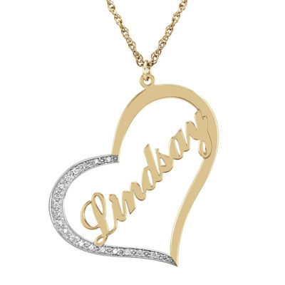 Personalized Diamond-Accent 14K Gold Over Sterling Silver Pendant Necklace