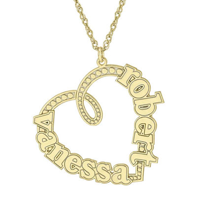 Personalized 14K Gold Over Silver Couple's Name Heart Pendant Necklace