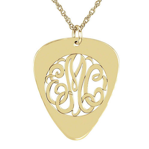 Personalized 14K Gold Over Sterling Silver Monogram Guitar Pick Pendant Necklace