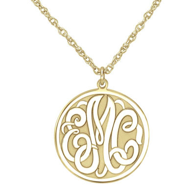 Personalized 14K Gold Over Silver 20mm Monogram Round Pendant Necklace