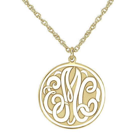 Gold over silver monogram pendant personalized 14k gold over silver 20mm monogram round pendant necklace aloadofball Gallery