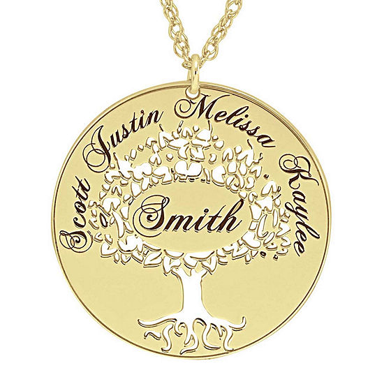 Personalized 14K Gold Over Silver Family Tree Name Pendant Necklace