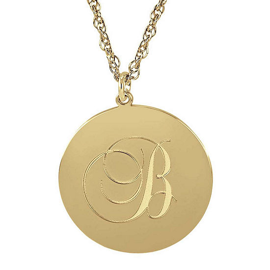 Personalized 14K Gold Over Silver Initial Round Pendant Necklace